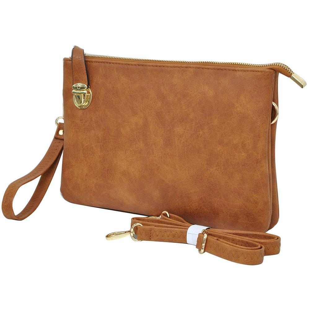 Light Brown NGIL Faux Leather Push Lock Clutch/Crossbody Bag