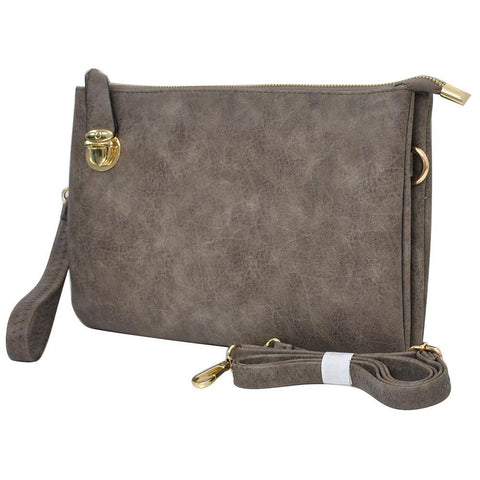 Taupe Grey NGIL Faux Leather Push Lock Clutch/Crossbody Bag