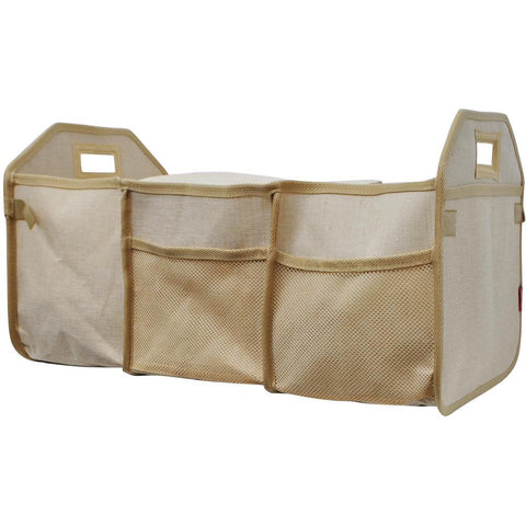 Solid Color Jute NGIL 3 Compartment Expandable Trunk Organizer