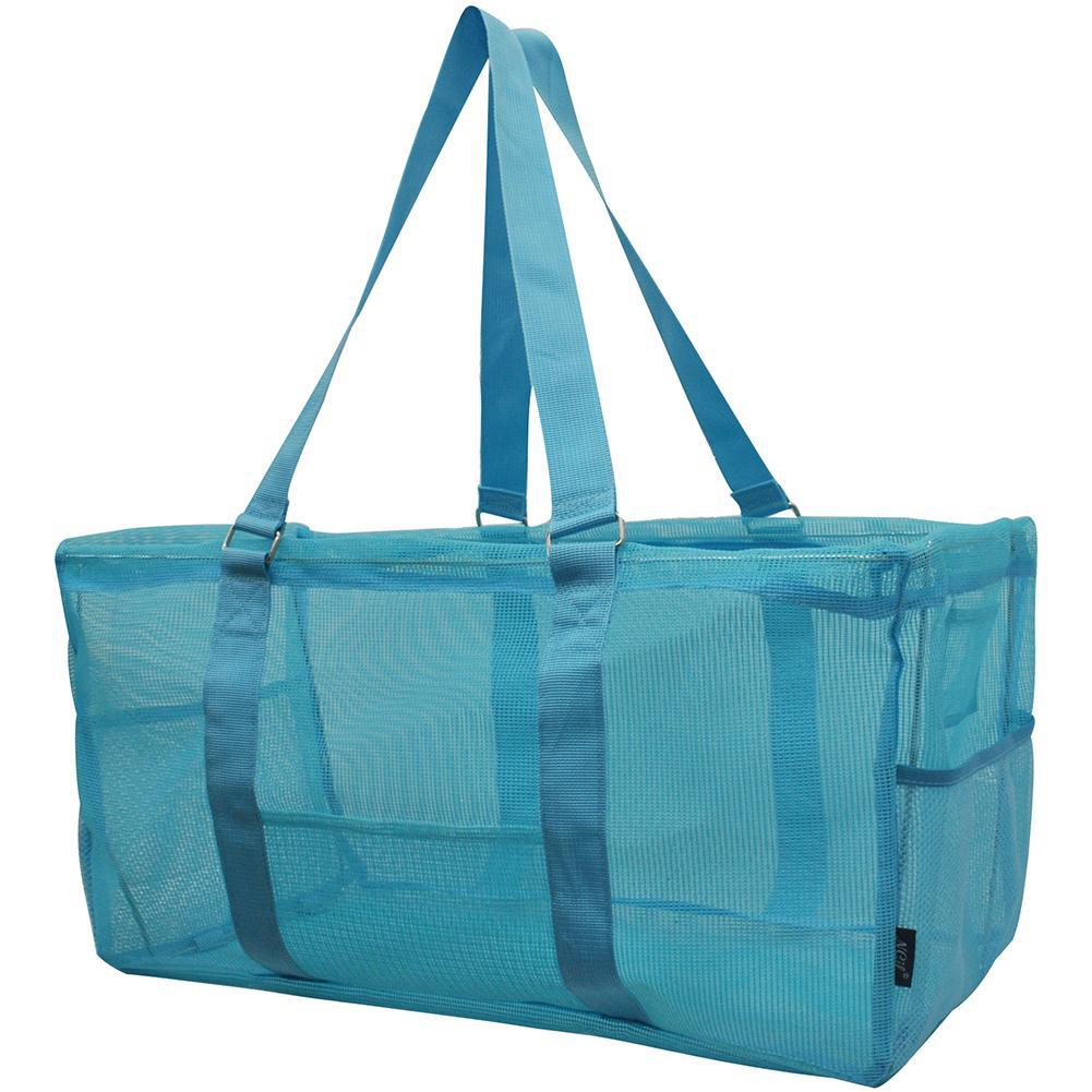 NGIL, Monogram gifts for her, monogram tote for teachers, personalized tote, teacher gifts, turquoise blue tote bags, mesh utility tote bags, turquoise blue vinyl mesh utility tote bag