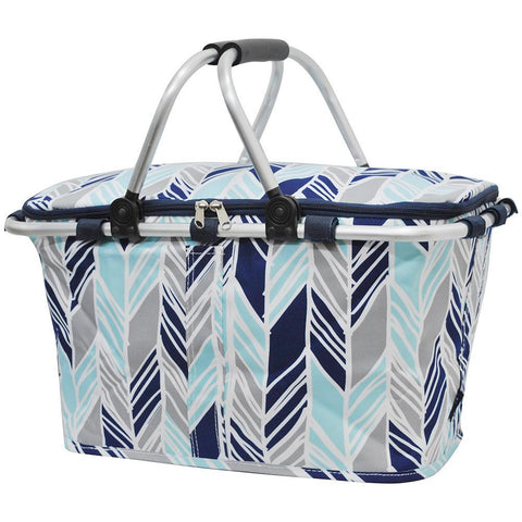 Insulated picnic basket for 2, market basket with lid, insulated basket for 2, picnic basket cooler, picnic basket with liner, picnic basket for kids, baskets for 6, picnic themed gifts, monogram gifts for her, cute print on basket, cute gray and blue basket, monogram gift for teenage girl.