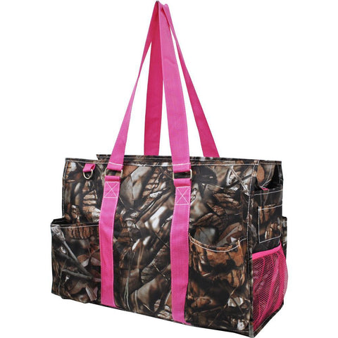 BnB Natural Camo Hot Pink NGIL Zippered Caddy Large Organizer Tote Bag