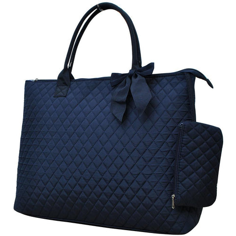 Solid Navy NGIL Quilted Overnight Tote Bag
