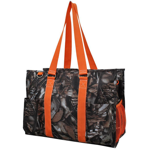 BnB Natural Camo Orange NGIL Zippered Caddy Large Organizer Tote Bag