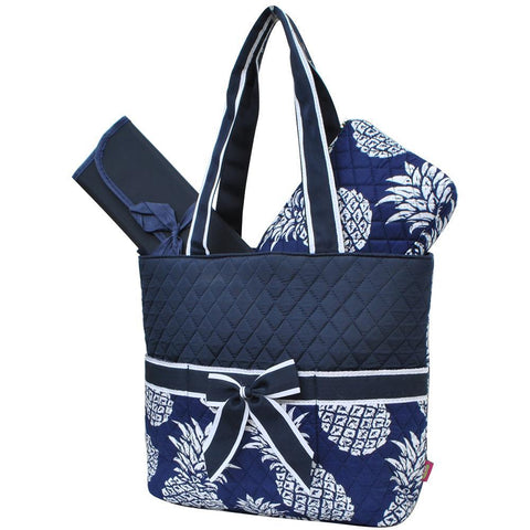 Southern Pineapple Navy NGIL Quilted 3pcs Diaper Bag