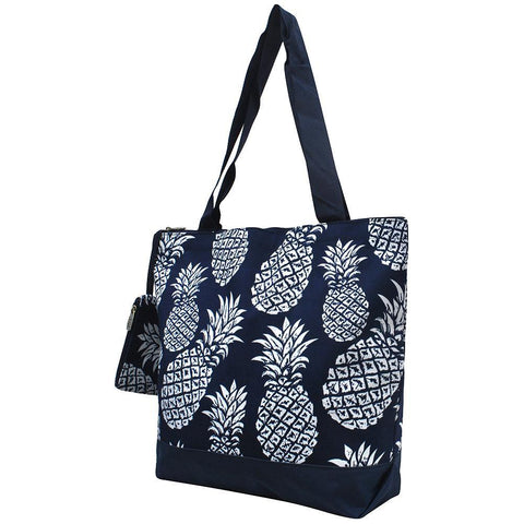 Tote for women zipper, monogram tote bags in bulk, tote bags, monogram bags totes, monogram tote for women, monogram NGIL Brand, monogram travel accessories, navy pineapple tote, pineapple pattern tote bag, monogram tote for women zipper, ngil utility tote.