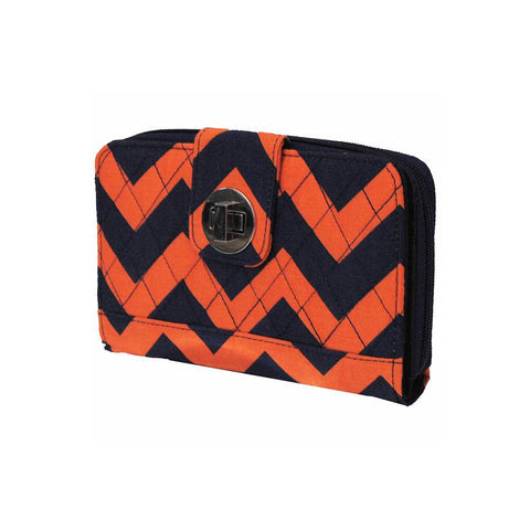 SALE ! Navy and Orange Chevron NGIL Quilted Twist Lock Wallet