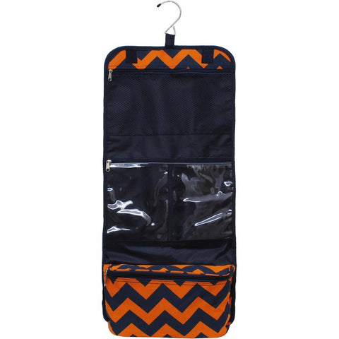 SALE ! Navy and Orange Chevron NGIL Traveling Toiletry Bag