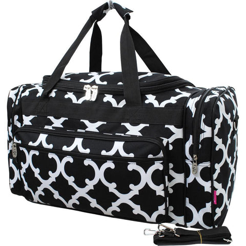 "Geometric Clover Black NGIL Canvas 23"" Duffle Bag"