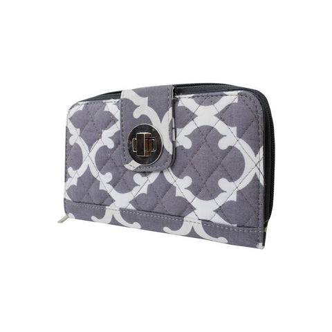 Geometric Clover Gray NGIL Quilted Twist Lock Wallet