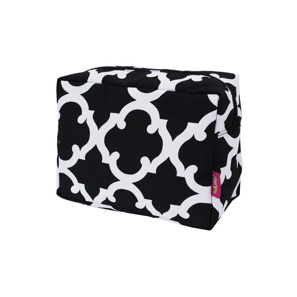 Cosmetic bags in bulk, best women's makeup bag, makeup pouch for school, makeup bag gifts for women, makeup organizer case, cosmetic bag for bride, travel bags gift, large black cosmetic bag, geometric clover cosmetic case