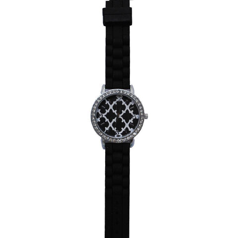 SALE!! Black Geometric Clover Silicone Watch
