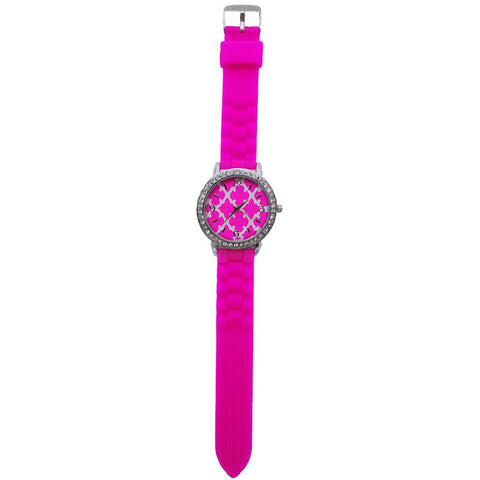 SALE!! Hot Pink Geometric Clover Silicone Watch
