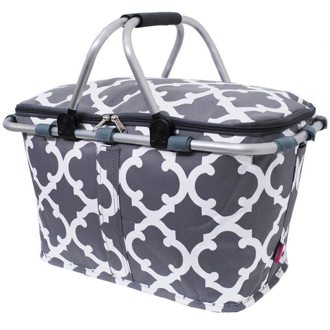 Geometric Clover Gray NGIL Insulated Market Basket