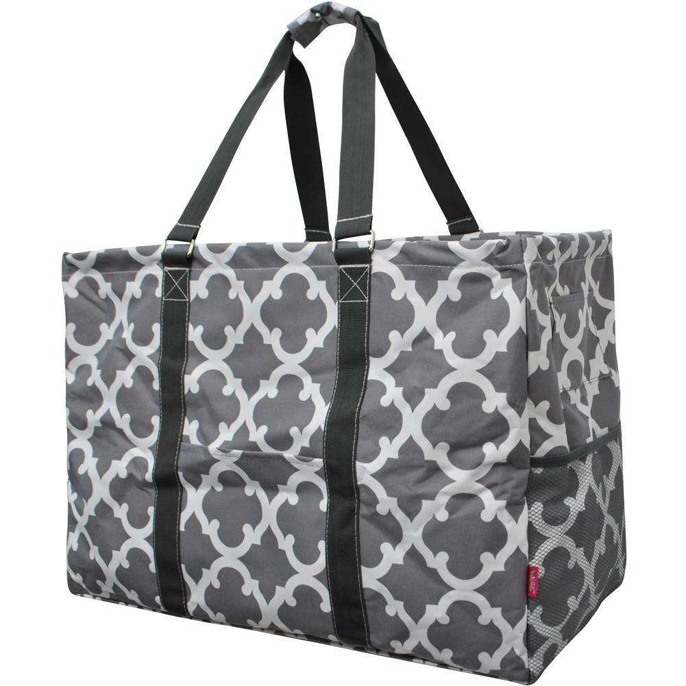 Geometric Clover Gray NGIL Mega Shopping Utility Tote Bag