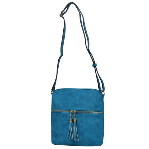 Turquoise NGIL Faux Leather Flat Tassel Crossbody