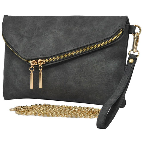 Dark Gray NGIL Faux Leather Envelope Crossbody / Clutch