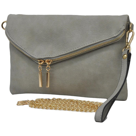 Gray NGIL Faux Leather Envelope Crossbody / Clutch
