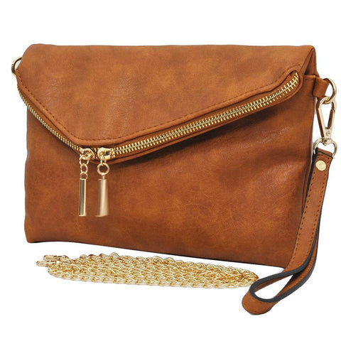 Light Brown NGIL Faux Leather Envelope Crossbody / Clutch