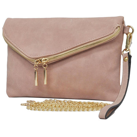 Pink NGIL Faux Leather Envelope Crossbody / Clutch