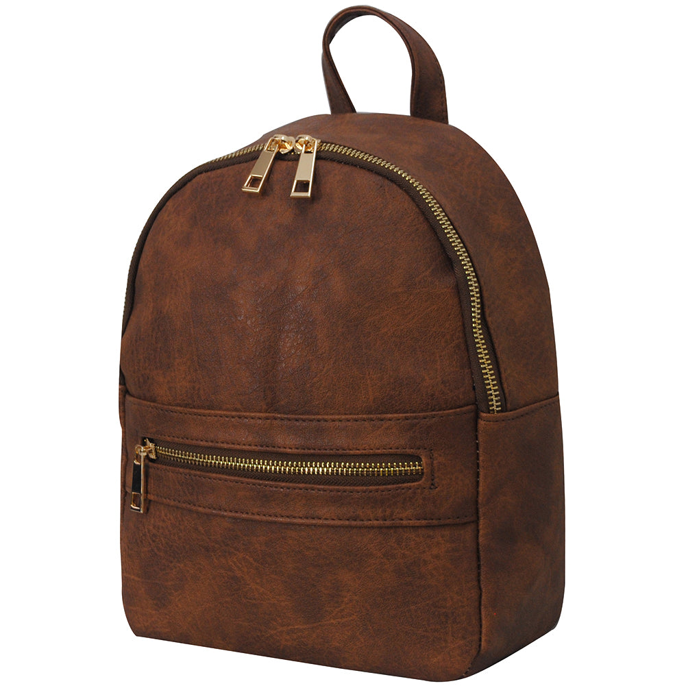 Brown NGIL Faux Leather Mini Backpack