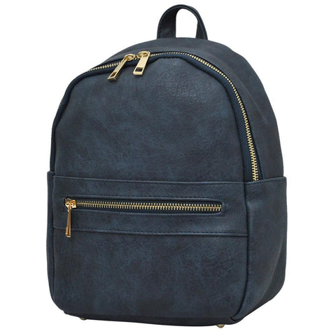 Navy NGIL Faux Leather Mini Backpack