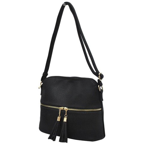 Black NGIL Faux Leather Tassel Tote Crossbody