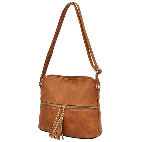 Light Brown NGIL Faux Leather Tassel Tote Crossbody