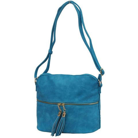 Turquoise NGIL Faux Leather Tassel Tote Crossbody