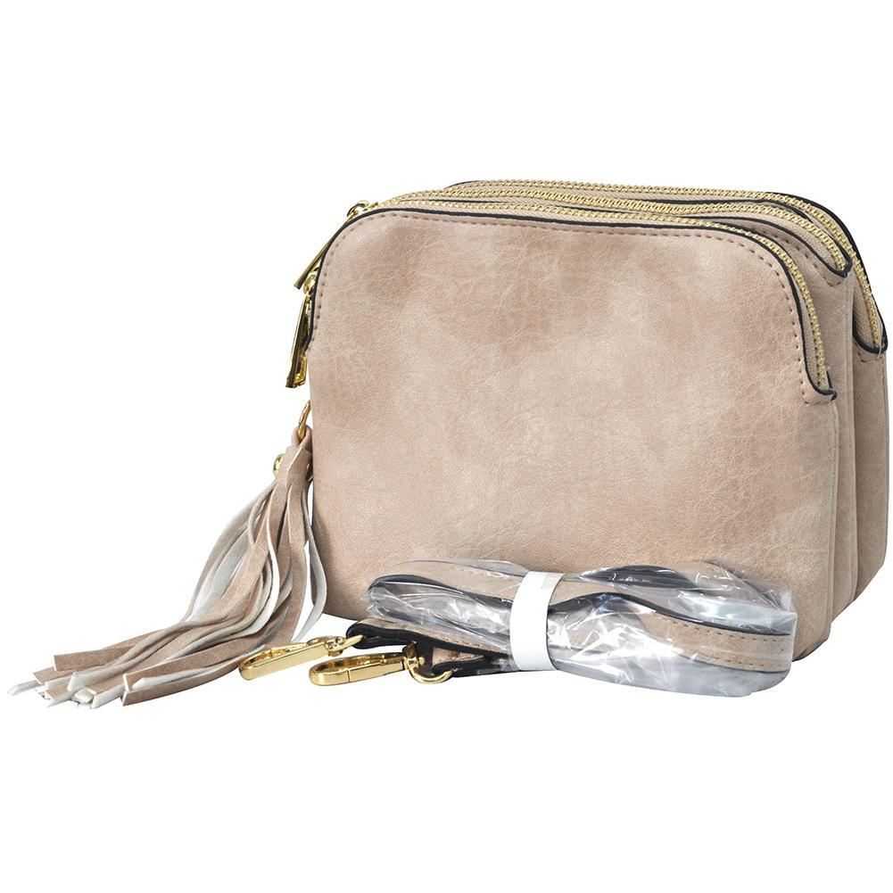 Sepia NGIL Faux Leather Triple Zipper Compartment Crossbody