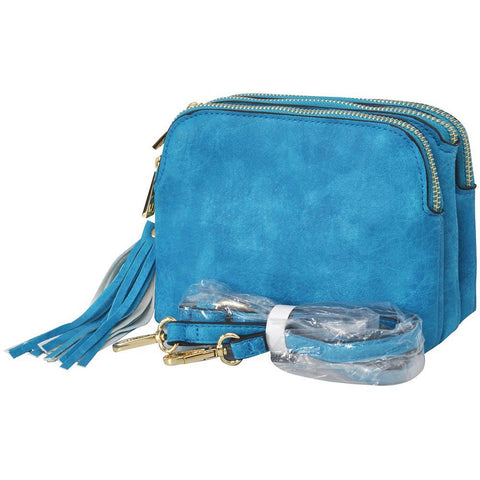 Turquoise NGIL Faux Leather Triple Zipper Compartment Crossbody