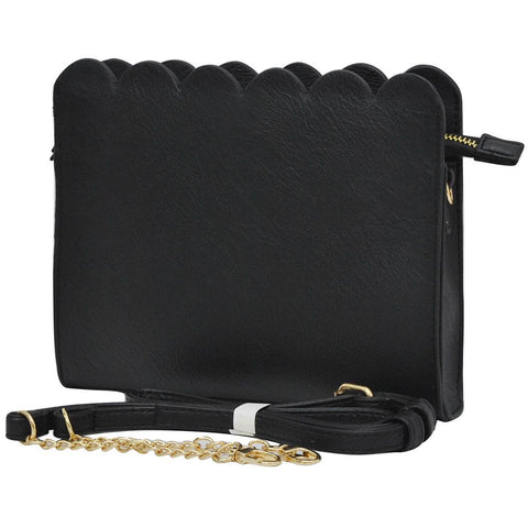 Black NGIL Faux Leather Scallop Crossbody