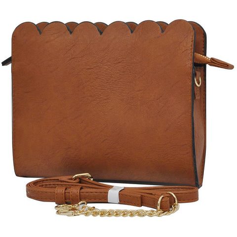 Light Brown NGIL Faux Leather Scallop Crossbody