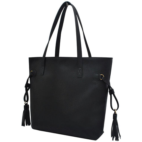 Black NGIL Faux Leather Side Tassel Shoulder Bag