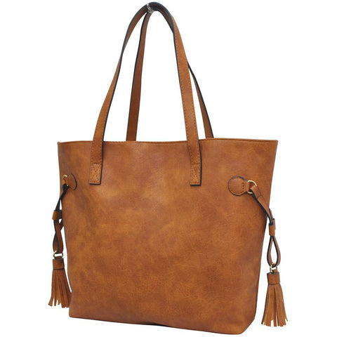 Light Brown NGIL Faux Leather Side Tassel Shoulder Bag