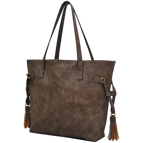 Taupe Gray NGIL Faux Leather Side Tassel Shoulder Bag