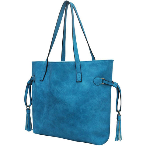 Turquoise NGIL Faux Leather Side Tassel Shoulder Bag