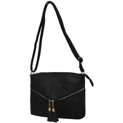 Black Faux Leather NGIL Double Tassel Pocket Crossbody Bag