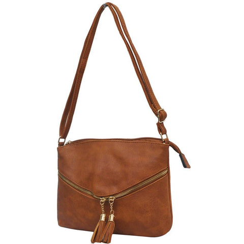 Light Brown Faux Leather NGIL Double Tassel Pocket Crossbody Bag