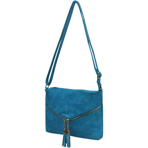 Turquoise Faux Leather NGIL Double Tassel Pocket Crossbody Bag