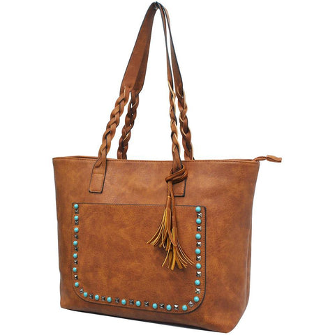 Light Brown NGIL Faux Leather Braided Shoulder Strap Fashion Bag