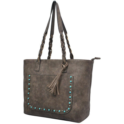 Taupe Gray NGIL Faux Leather Braided Shoulder Strap Fashion Bag