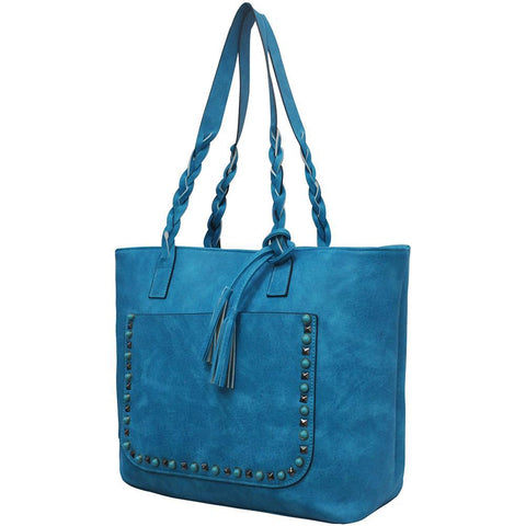 Turquoise NGIL Faux Leather Braided Shoulder Strap Fashion Bag