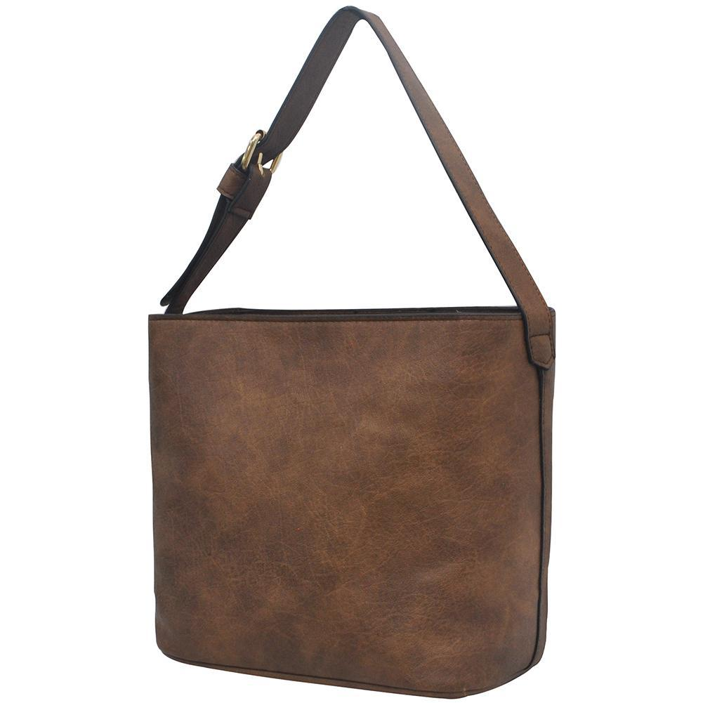 Brown NGIL Faux Leather Hobo Bag