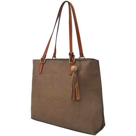 Taupe Gray NGIL Faux Leather Shoulder Bag