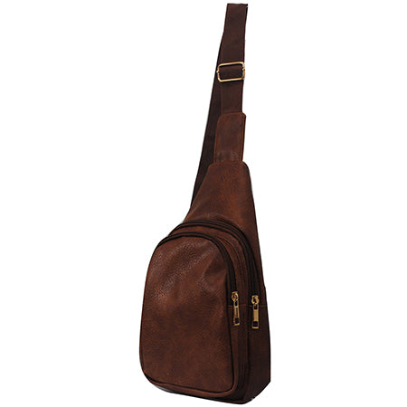 Brown NGIL Faux Leather Sling Bag