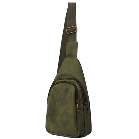 Olive NGIL Faux Leather Sling Bag