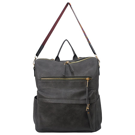 Dark Gray Faux Leather NGIL Over the Shoulder Backpack