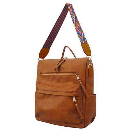 Light Brown Faux Leather NGIL Over the Shoulder Backpack