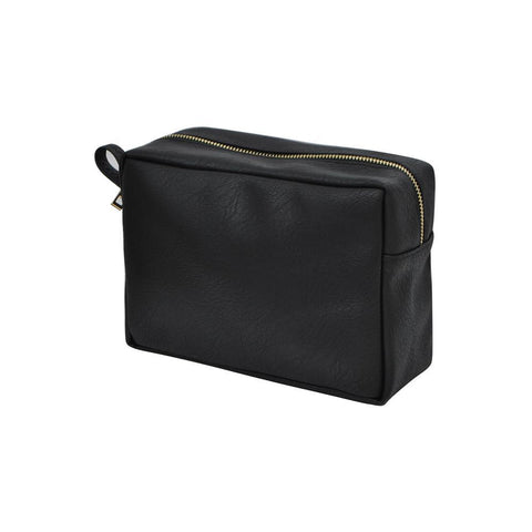 Black NGIL Faux Leather Large Cosmetic Travel Pouch